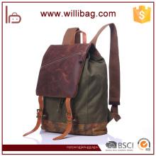 Mochila de lona de cuero genuino de alta calidad bolsas para hombres mochila