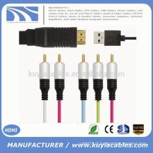 HDMI macho a 5RCA RGB Com chipset Áudio Cabo Vedio Diretamente usb 1M 1.5M 1.8M