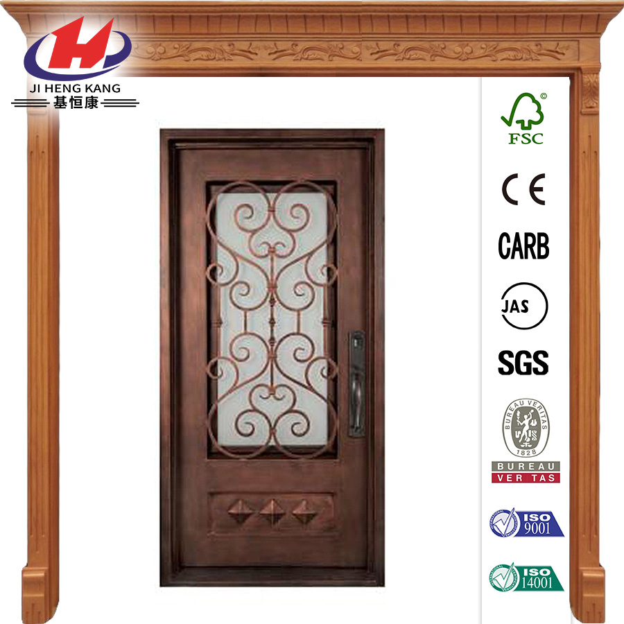 Francese Classic 3/4 Lite Wrought Iron Prehung Front Door