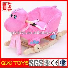 rosa e azul popular presente de pelúcia dinossauro bonito cadeira de balanço para o bebê