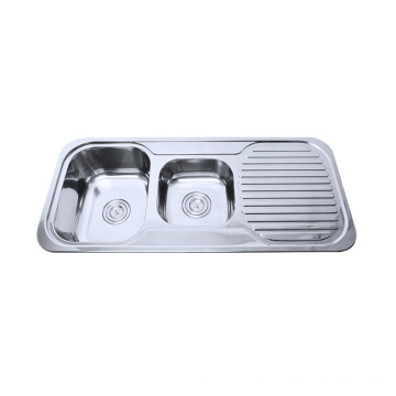 recipiente doble de acero inoxidable con fregadero de cocina escurreplatos