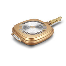 Golden Aluminum Die-casting Square Double Grill Pan