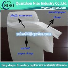 Matéria prima sanitária do guardanapo - polpa do fluff + papel absorvente da seiva