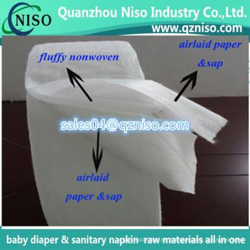 Materia prima de la compresa sanitaria - Pulpa de pelusa + Papel absorbente de savia