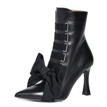 2019 Winter New Style Pointed High Heel Black Sexy Women's Short Boots