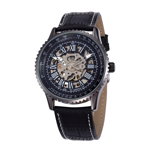 oem luxury genuine leather band automatic skeleton black man watches
