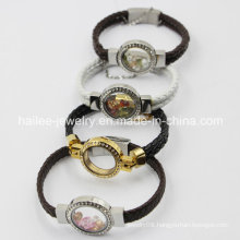New Arrival Stainless Steel Leather Bracelet with Locket