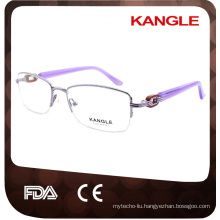 half rim optical metal frames with decoration