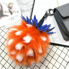 Best selling pineapple Pom Pom fur keychain accessories