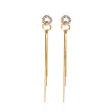Fashion Party Wedding Korean Jewelry Simple Double Circle Long Tassel Drop Earrings for Women Elegant Gem Pendant