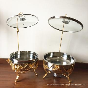 8L Edelstahl plattiert Buffte Speisenwärmer / Hot Pot Chafing Dish Rose Gold