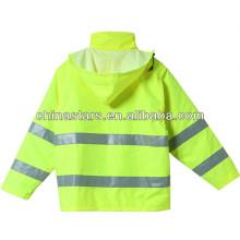 EN471 Veste imperméable à l'hiver avec imperméable à capuche réfléchissante