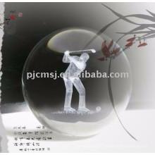 Boule de cristal gravée par laser 3D pour des souvenirs