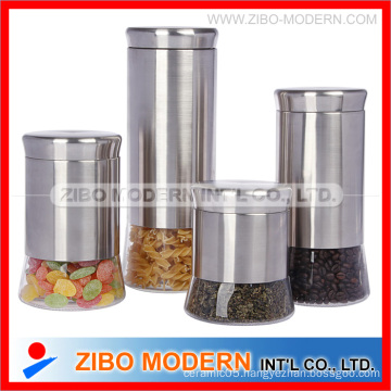 2015 Wholesale 4 PCS of Stainless Steel Glass Jar with Sealing Lid