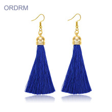 Bohemian Style Long Navy Blue Jade Earrings