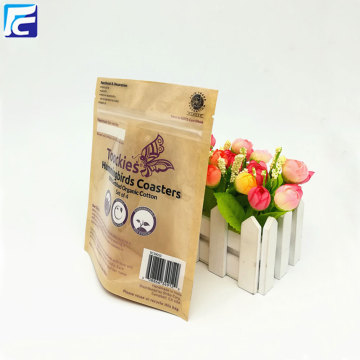 Zip lock clear kraft paper bag for coffee