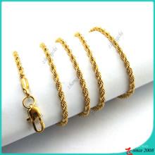 Ouro torção cadeia colar de pingente colar pingente (fn16041804)