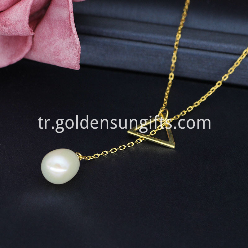 925 Sterling Gold Pearl Pendant Necklace