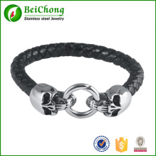 Wholesale Braided Leather Punk Skull Head Bracelet Bangle Wristband For Man men Gift