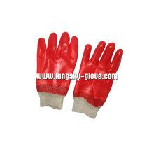 Блокировки лайнера вязать запястье Красный ПВХ перчатки работы (5118)