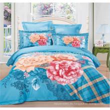 Diseño de flores grandes Juego de cama de 4 piezas con fundas de edredón Capas y fundas de almohada