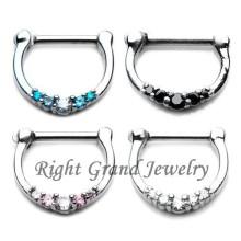 Bijoux de piercing de corps de Clicker d'acier chirurgical de septum d'anneau de la cloison 16G