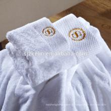 Broderie personnalisée plaine blanc 16s 100% coton 5 étoiles hôtel serviettes