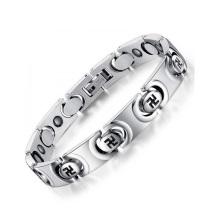 Top venda pulseira permanente de jóias em aço inoxidável, pulseiras cadeia de prata círculo