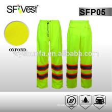 Pantalones reflectantes de seguridad de engranajes de lluvia