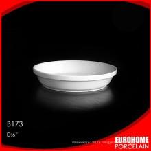 vente en gros de dîner en céramique blanc pur de Chine ensemble sur plaque