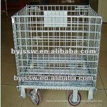 Récipient pliable de recyclage de cage en métal avec des roues