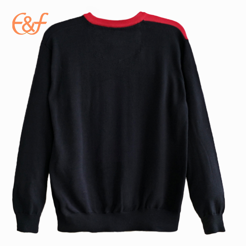 Men's v neck knitted pullover, the biggest feature is the color designer clothes design and color sensitivity. Clothes of the main color is black, so the rib collar with red yarn to knit. Yellow and grey striped unequal distribution is different from conventional dress form depending on the wrong effect. The sweater is a very personal back look