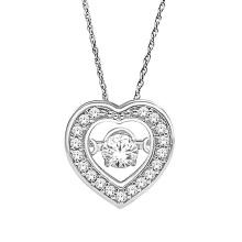 Forma do Coração 925 Pingentes de Prata Jóias Dançando Diamante