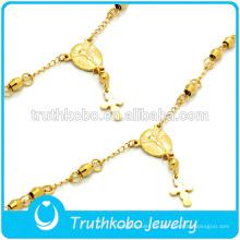 Pulsera de oro de Navidad pulsera de Jesús cruz joyería religiosa joyería de acero inoxidable personalizada de encargo en venta caliente