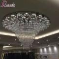 Большой размер современный стекло Кристалл Кулон Светильник проект-отель