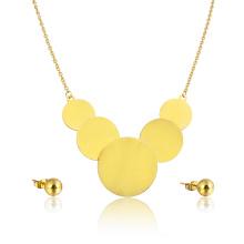 Стальные Оптовая Мода Женщины Ювелирные Изделия Из Нержавеющей Набор Большой Диск Ожерелье