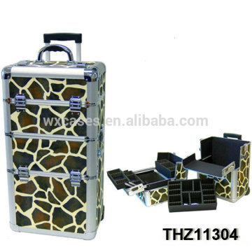 2014 new design cosmetic trolley with giraffe pattern as skin