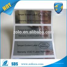 Impression personnalisée auto-adhésif PET argenté imperméable à l'eau VOID OUVERT étiquettes de sécurité étiquette d'expédition de sécurité