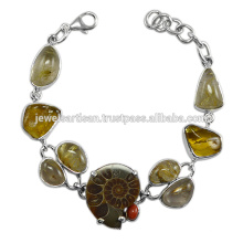 Ammonita hermosa y piedras preciosas múltiples 925 pulsera de la plata esterlina Joyería