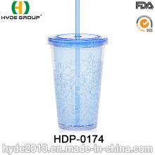 Copa plástica de la paja de zumo de fruta de la pared doble 16oz (HDP-0174)