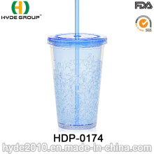 16oz Double Wall Plastic Fruit Juice Drinking Straw Cup (HDP-0174)