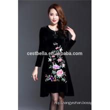 Custom Made Spring Autumn Fashion Embroidered Velvet Coat Dress for Elegant Lady