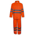 Yj-6044 Waterproof Red Rain Suit PU Raincoats Rain Jackets Overalls Gear