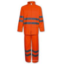 Yj-6044 Wasserdichte rote Regen Anzug PU Regenmäntel Regen Jacken Overalls Gear