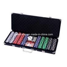 La viruta de póker 500PCS fijó en caja de aluminio del color negro (SY-S45)