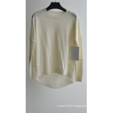 Ladies Pure Color Round Neck Pullover Sweater