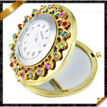 Espejo del reloj del Rhinestone, joyería del espejo, compone el espejo de bolsillo (MW003)
