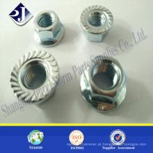Porca de flange hexagonal com acabamento de zinco brilhante brilhante porca de flange Din6923