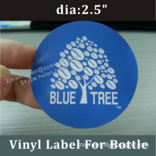 Self Adhesive Blue Round Label For Package,logo Sticker With Different Size Customized In Rolls