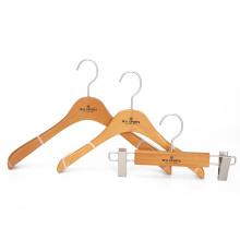 Custom brand deluxe wooden coat hanger for shop display